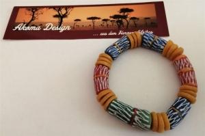 Tolles Armband aus handgefertigt- und bemalten afrikanischen Glasperlen
