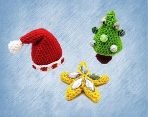 Häkelanleitung Weihnachtsdeko (Weihnachtsbaum, Stern und Mütze)