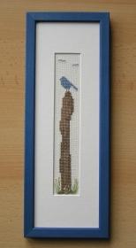 gesticktes Bild -schöne Aussicht- im blauen Rahmen
