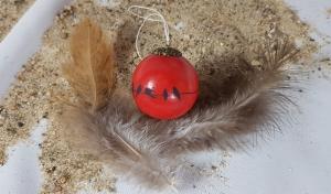 handgemachte Keramikkugel mit Vögeln zum Aufhängen/ Fb: rot/ hier gehts zum Shop - Handarbeit kaufen