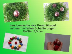 handgefertigte kleine Keramikkugel, rot mamoriert, 3,5 cm groß, innen hohl, zum Aufhängen, Shop von Unikate Keramik by D.W. besuchen - Handarbeit kaufen