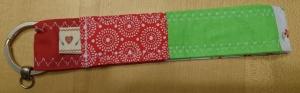 Schlüsselband genäht in Rot und Grün 20 cm
