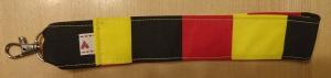 Schlüsselband genäht mit Karabiner 24 cm schwarz rot gelb -