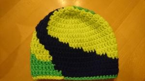 Bommelmütze, Häkelmütze,  neon grün und gelb mit blau-