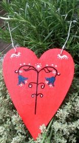 Holzherz Herz aus Holz zum Aufhängen bemalt, in rot  - Valentinstag