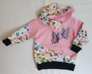 Rosa Babypullover mit Schmetterlingsstickerei, Gr. 80-82