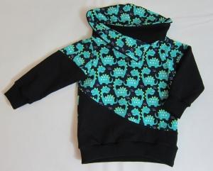 schwarzer Babypullover mit türkisen Dinos, Gr. 80-82
