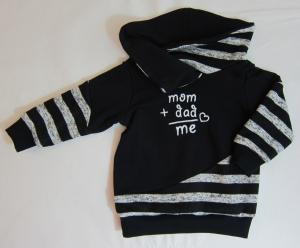 Schwarz / weiß gestreifter Babypullover mit süßer Stickerei, Gr. 80-82