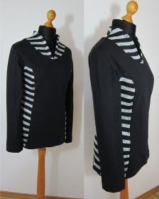 schwarz / weiß gestreifter Damen Pullover, Gr. 40