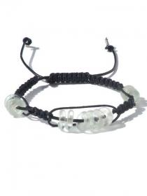 Herrenarmband mit schwarze Lederschnur, Wachsfaden, transparante wiederverwendete Glasscheiben. Handgeknüpfte Armband für Männer, Ibiza Stil, Leder  - Handarbeit kaufen