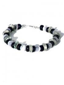 Herrenarmband graue Katzenaugeperlen, wiederverwendete transparante Glasscheiben, schwarze Kokosperlen. - Handarbeit kaufen