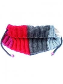 Gestrickte Schal in pink, rot, grau und écru. Handgestrickte Halswärmer mit Schnüre, gerippter Schal, trendy Baktus Schal. - Handarbeit kaufen