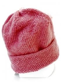 Rosa handgestrickte Mütze. Handgefertigte pink Beanie, gestrickte Beaniemütze, Strickmütze, Wollmütze, Beaniemütze Hipster, rosé Wintermütze Hipster - Handarbeit kaufen