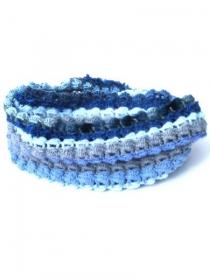 Blaue handgehäkelte Schlauchschal, Doppelwickelschal. Handgefertigte Schal, Damenschal, Häkelschal, Slauchschal, gehäkelter Loop, Halswärmer - Handarbeit kaufen