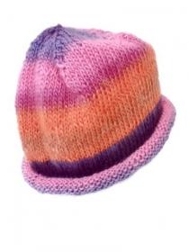 Handgestrickte Beaniemütze rosa, orange, violett, Unisex Slouch-Mütze  - Handarbeit kaufen