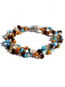 Armband mit Glasperlen und silberfarbige Zwischenringe. Handgefertigte Armreif, silberfarbig Knebelverschlüß, Schmuck Perlen - Handarbeit kaufen