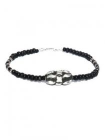 Schwarze Fusskette für Herren mit versilberte und schwarze Perlen. Fusskette Unisex, Holzperlen, Glasperlen. Schmuck Männer, Surfer, Strand