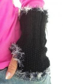 Handgestrickte schwarze Pulswärmer, schwarze Damenhandschuhe, schwarze gestrickte Handstulpen, handgestrickte schwarze Armstulpen - Handarbeit kaufen