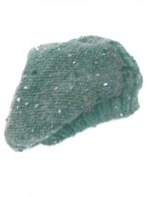 Handgestrickte grüne Barett aus Tweedgarn. Handgefertigte Strickmütze, gestrickte grüne Baskenmütze. - Handarbeit kaufen