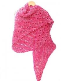 Dreieckstuch in rot mit pink. Handgestrickte Umschlagtuch, gestrickte rote Schal, rot pink Schultertuch, Stola Damen. - Handarbeit kaufen