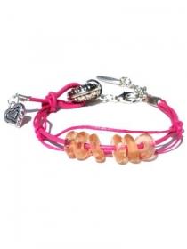 Rosa Armband mit Lederschnur, Wachsfaden und lachsrosa wiederverwendete Glasscheiben. Handgefertigte Armreif, Bettel Herz - Handarbeit kaufen