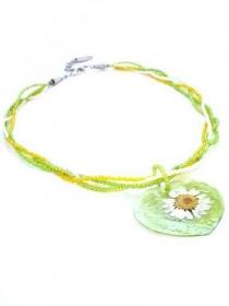 Kette mit Schale Anhänger im Farbe gelb, grün, weiß. Handgefertigte Halskette mit gelbe, grüne, weiße Glasperlen, Anhänger Muschel, Per Elle