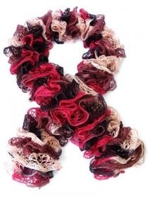 Handgestrickte Ruffleschal im Farben fuchsierosa, aubergine, hellrosa. Handgefertigte Schal, Strickschal multifarbig. Damenstrickschal rosa - Handarbeit kaufen