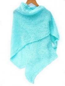 Türkis gestrickte Schal. Handgestrickte Schultertuch, gestrickte Dreieckstuch, trendy Umschlagtuch Damen - Handarbeit kaufen