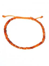 Orange Fußband mit Glasperlchen und Stickgarn. Verstellbares Fußbändchen. Handgeknöpfte Fußschmuck, Boho Schmuck Ibiza - Handarbeit kaufen