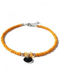 Orange Fußkettchen Rocailles und silberfarbige Bettel Text 'beach girl'. Handgefertigte Fußkette, Ibiza Schmuck - Handarbeit kaufen