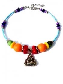 Fußkettchen in Regenbogenfarben mit Glasperlen, Muschelperlen und Boeddhabettel. Handgefertigte Fußkette, sieben Chakra