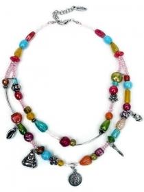 Multifarbige kurze Halskette, 2 Reihen Glasperlen und Bettel. Handgefertigte Kette in Regenbogen Farben, Perlenkette