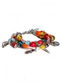 Multifarbige Armband mit 3 Reihen Perlen und Bettel. Handgemachte Armreif mit Bettel und Glasperlen. - Handarbeit kaufen