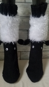 handgestrickte Haussocken Schaf,Schwarz/Weiß, Gr.40/41 , Wackelaugen, Ohren,  - Handarbeit kaufen