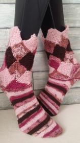 handgestrickte Socke , Gr.38/39, Patchwork, Rosatöne - Handarbeit kaufen