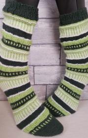 handgestrickte Socke , Gr.38/39, Farb und Mustermix, Grüntöne - Handarbeit kaufen