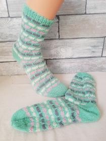 handgestrickte Socke , Gr.36/37, Mint/ Bunt - Handarbeit kaufen