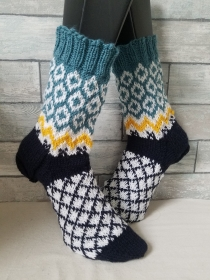 handgestrickte Socke Fair Isle Muster Gr.42/43
