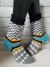 handgestrickte Socke Fair Isle Muster Gr.38/39 Weiß/schwarz(Bunt - Handarbeit kaufen