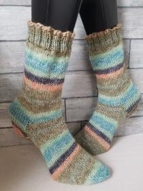 handgestrickte Socke  , Gr.38/39 ,Grün/ Bunt - Handarbeit kaufen