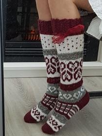 gestrickte Kniestrümpfe, Knee high Socks,Gr.36-38,Bordeaux/ Wollweiß    - Handarbeit kaufen