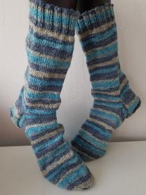 handgestrickte Socke , Gr.46/47 Türkis/ Beige/ Grau