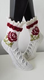 gestrickte Socke Red Rose, Gr.38/39, Weiß