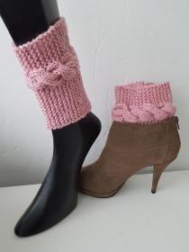 Boot cuffs/ Stiefelstulpen/Stiefelblitzer Rosa - Handarbeit kaufen