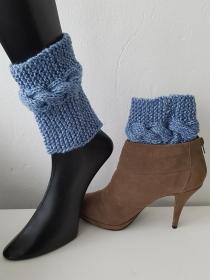 Boot cuffs/ Stiefelstulpen/Stiefelblitzer Blau - Handarbeit kaufen
