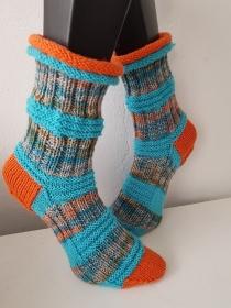 handgestrickte Socke, Rollrand , Gr.40/41 ,Orange/Türkis - Handarbeit kaufen