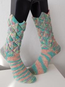 handgestrickte Socke Zacken-Patchwork Gr.40/41 Pastellfarben - Handarbeit kaufen