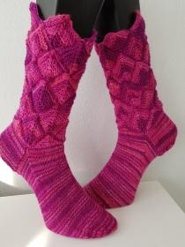 handgestrickte Socke Zacken-Patchwork Gr.40/41 Pinktöne - Handarbeit kaufen