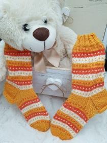 gestrickte Socken Gr. 34/35 Tricolor, Gelb, Weiß, Orange - Handarbeit kaufen