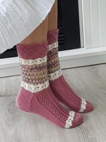 handgestrickte Socke , Model Annabell, Altrosa/Natur/ Bunt, Gr.40/41 Lochmuster